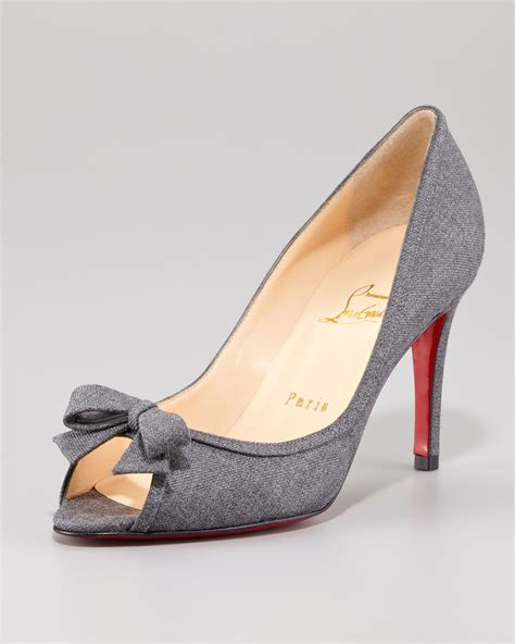 louboutin light up shoes lyst christian louboutin milady flannel peeptoe pump in gray