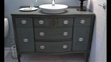 diy bathroom vanity from dresser diy bathroom vanity from dresser youtube