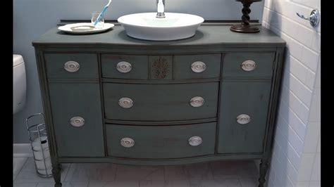 diy bathroom vanity from dresser youtube