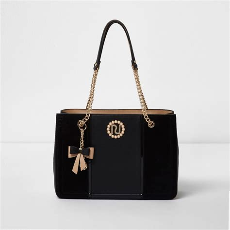 Chain Tote Bags Black black charm chain tote bag shopper tote bags bags