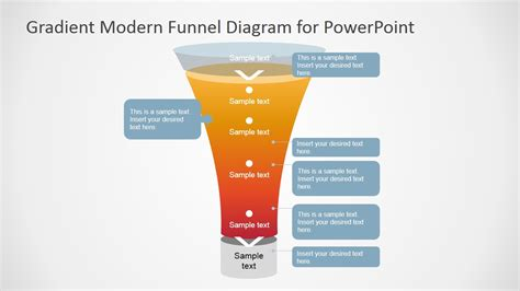 Gradient Modern Funnel Diagram For Powerpoint Slidemodel How To Make A Funnel In Powerpoint