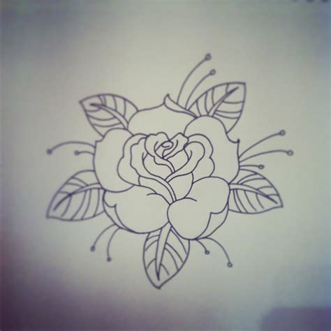 rose outline tattoo black outline traditional stencil by jacob tyrrell