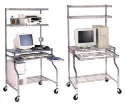 mobile wire computer workstation with caster house way