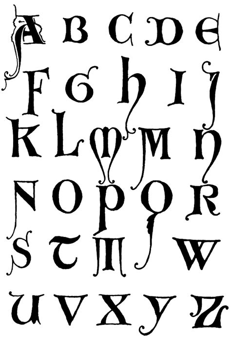 design gothic font gothic letters a z initials gothic and fonts