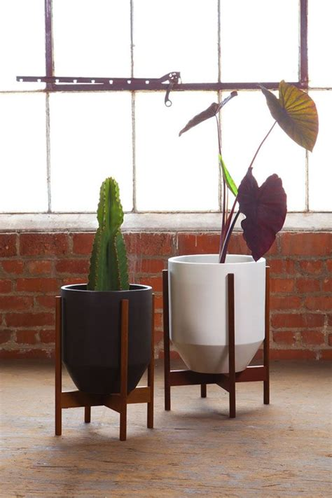 case study cylinder plant pot with stand modernica pot modernica case study hex with wood stand ceramic