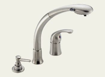 delta waterfall kitchen faucet dirtcheapfaucets delta 474 ss waterfall single handle kitchen pull out faucet with soap