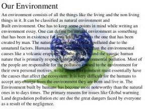 Environmental Issues Essay Exles by Environment Pollution