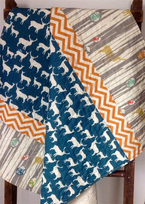 Navy And Teal Quilt Quilt Modern Trees And Organic Baby On