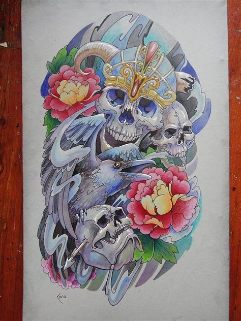 three skull tattoo designs design skulls by xenija88 models picture