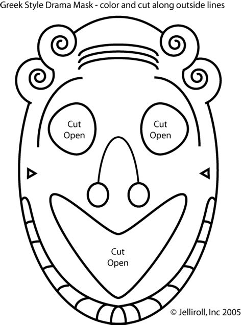 ancient mask template free drama masks