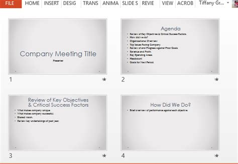 Company Meeting Powerpoint Template With Agenda Slides How To Run A Meeting Template