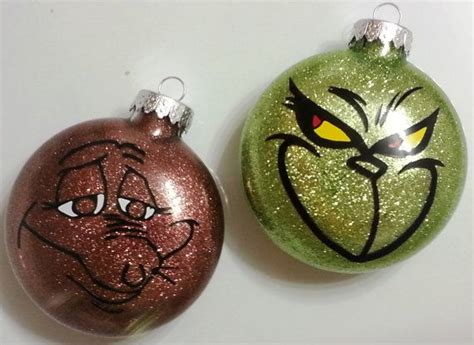 the grinch and max set of 2 glass christmas ornaments