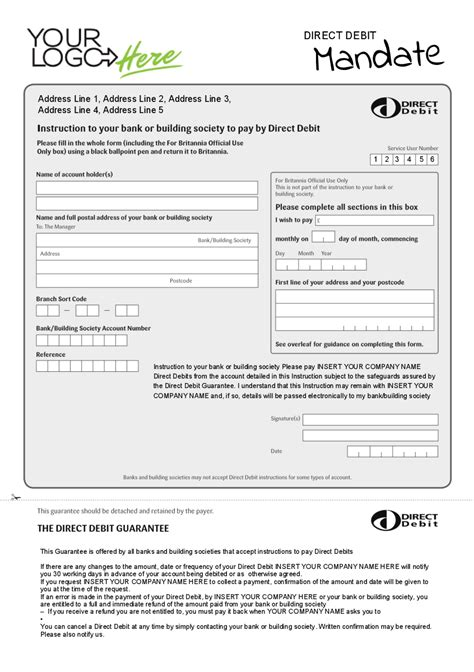direct debit form form templates direct debit form direct debit form