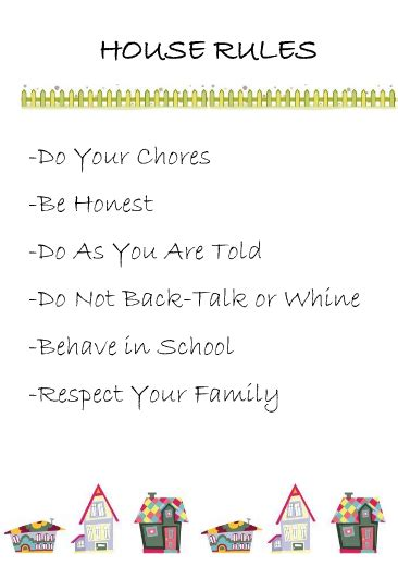 crayons and checkbooks printable house rules