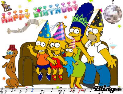 imagenes de happy birthday de los simpson happy birthday simpson fotograf 237 a 105763507 blingee com