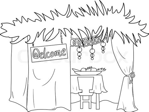 sukkot coloring pages a vector illustration coloring page of a sukkah decorated