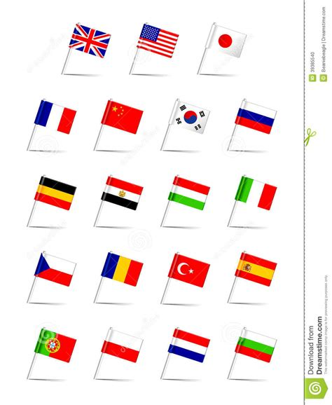 flags of the world languages languages flag set stock vector image 39385540