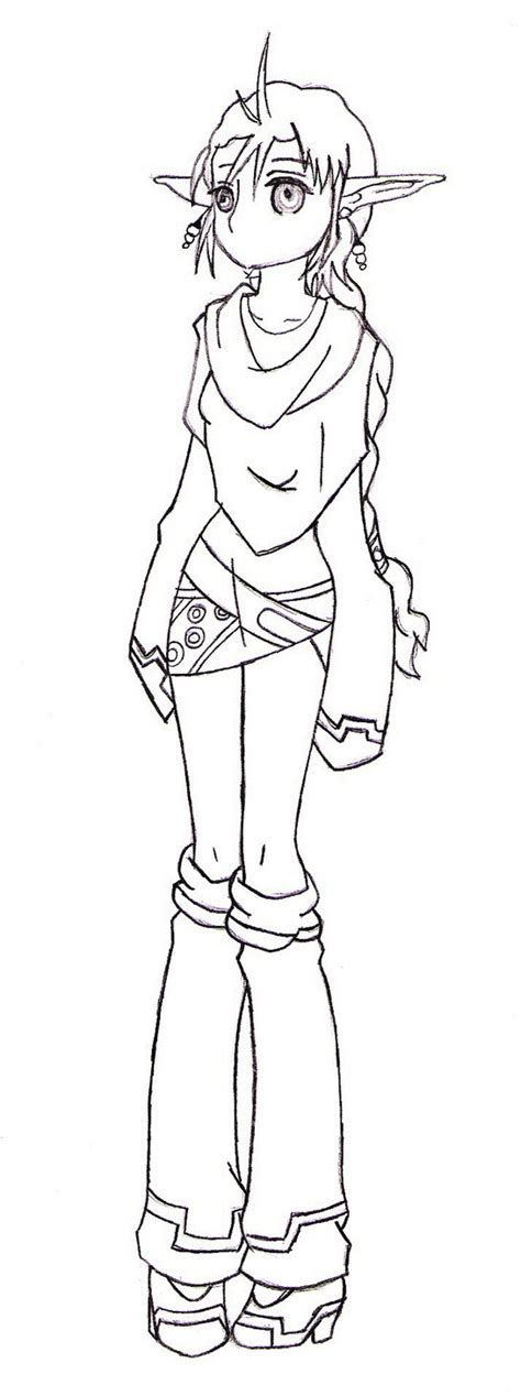 anime elf coloring pages anime girl elf coloring pages sketch coloring page