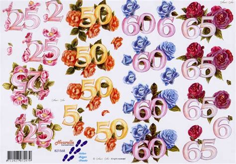 decoupage numbers anniversary numbers flowers 3d decoupage sheet from le suh
