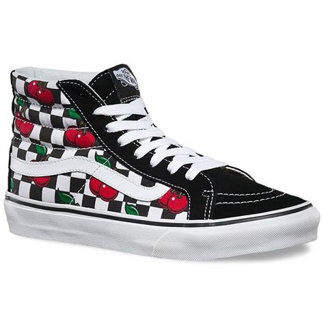Vans Sk8 Hi Black Waffle Icc2 vans cherry checkers sk8 hi slim shoes