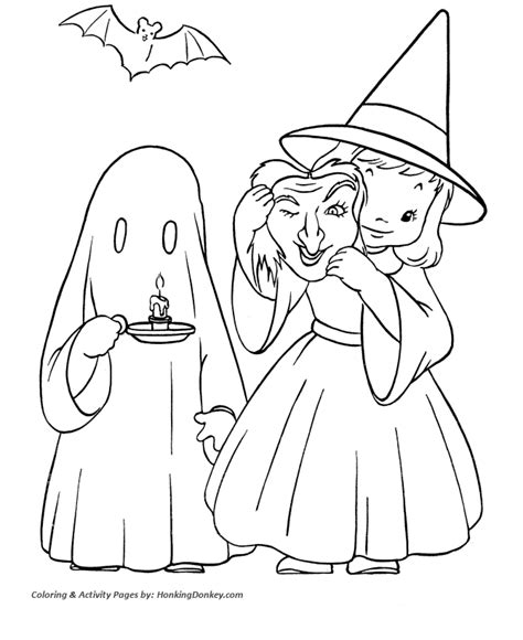 halloween costume coloring pages witch and ghost