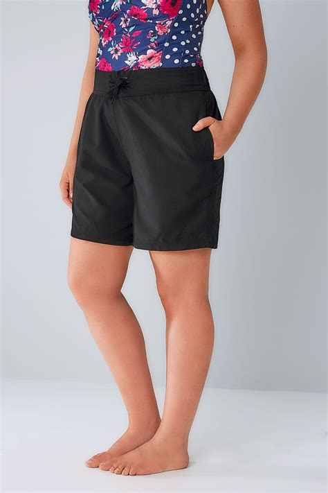 Drawstring Waist Shorts black board shorts with drawstring waist plus size 16 to 32