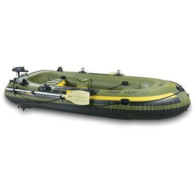 fishing boat with motor sevylor 174 fishing hunting inflatable boat package with