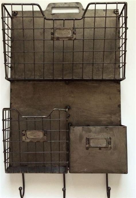 wall pocket organizer vintage style metal triple wall pocket organizer file holder w hooks 13 quot x 21 vintage hooks