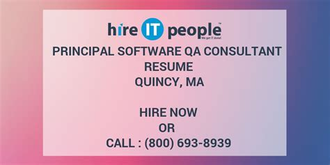 Qa Consultant by Principal Software Qa Consultant Resume Quincy Ma Hire It We Get It Done