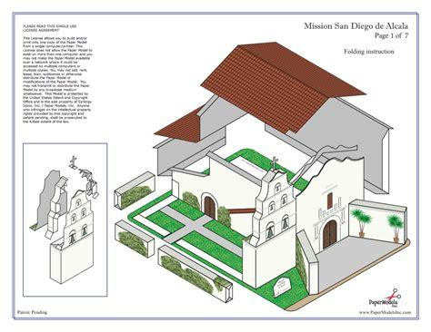 Free Floor Plan Template by Mission San Diego Basilica De Alcala Paper Models Inc