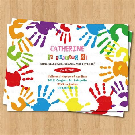 Birthday Card Template Handprint by Arts And Crafts Prints Birthday Invitation