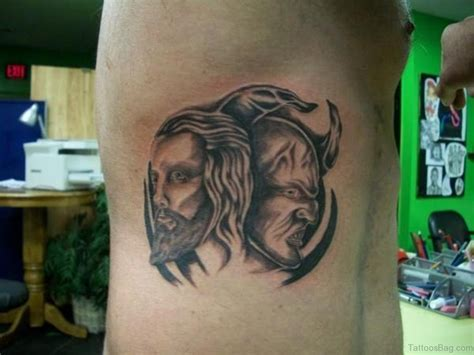 devil face tattoo designs jesus and satan tattoos pictures to pin on