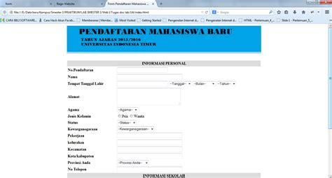 cara membuat form html pendaftaran yahoo cara buat form pendaftaran mahasiswa baru menggunakan html