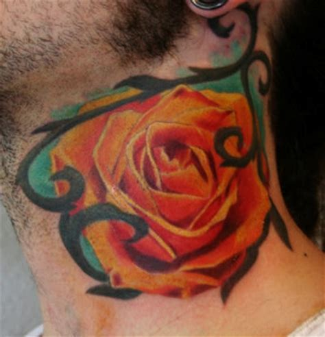 orange rose on neck