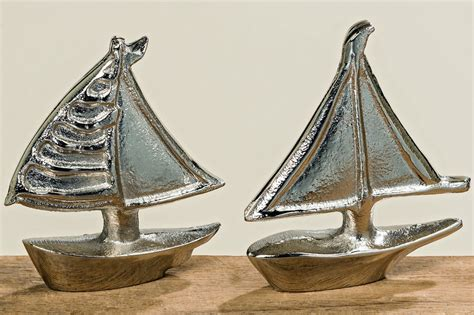 Dekoartikel Strand Meer by 2er Set Skulptur Boot Silber Schiff Meer Strand Bad