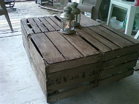 Apple Crate Coffee Table by Vintage Apple Crates Made Into A Cocktail Table For Outside Neat Ideas Cheap