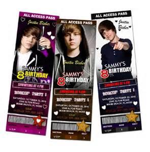 justin bieber birthday invitation ticket digital file custom personalized printable