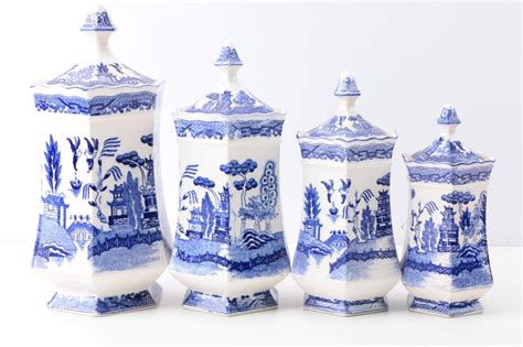cobalt blue ceramic canister set made in italy italian quot blue willow quot transferware ceramic canisters and cobalt