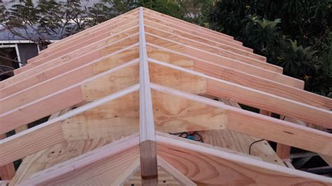 Dormer Roof Framing Roof Gusset Step 2 Set The End Rafter On The Shed Wall
