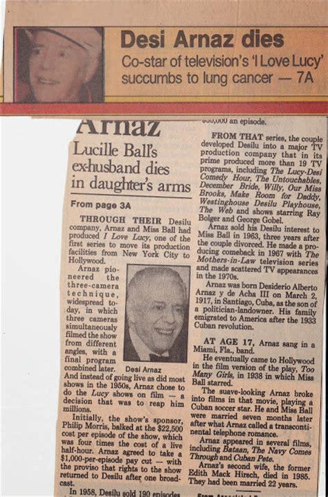 when did desi arnaz died lucy archives desi arnaz dies in his daughter s arms 1986