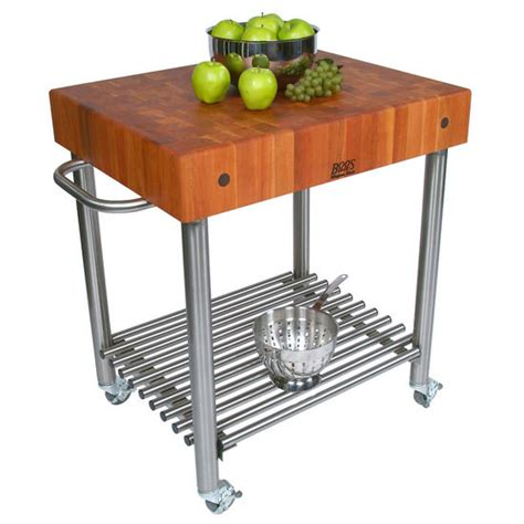 kitchen cart butcher block top cherry d amico stainless steel kitchen cart with butcher