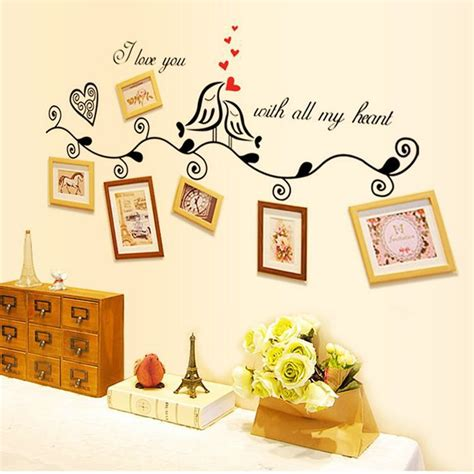 fashion red love heart wall stickers home decor life tree fashion design love heart bird wall art stickers vinyl