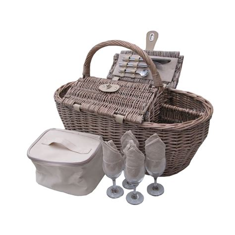 Stainless Steel Kitchen Knives Set by Deluxe Antique Wash 4 Person Wicker Picnic Basket
