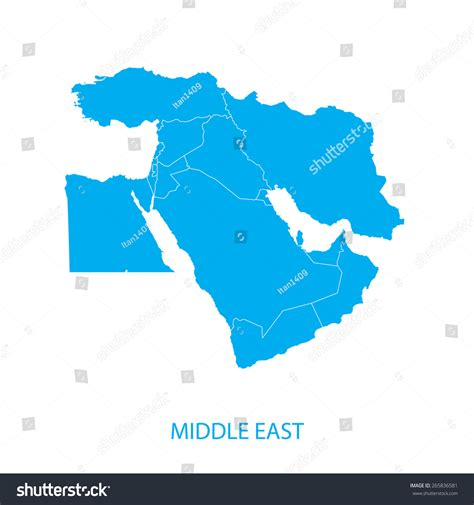 middle east map vektor middle east map stock vector 265836581