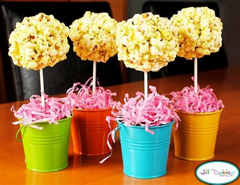 centerpieces popcorn trees try a food coloring to tint balls theme color