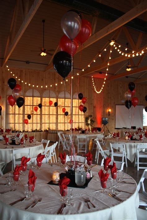 prom theme names with gold hollywood themed prom with black red and silver balloons
