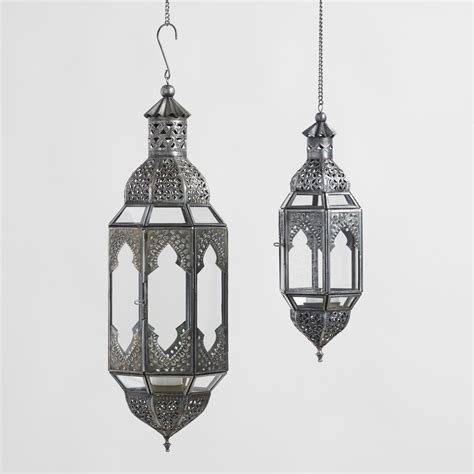 Antiqued Zinc Latika Hanging Lanterns World Market Lights Lanterns