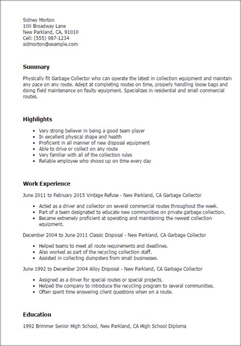Garbage Collector Cover Letter garbage collector resume template best design tips myperfectresume