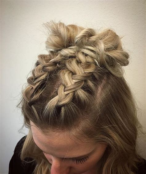 french braid bun on empire double dutch braids finished into buns for this cute