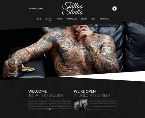 tattoo websites studio website template free psd ui ux